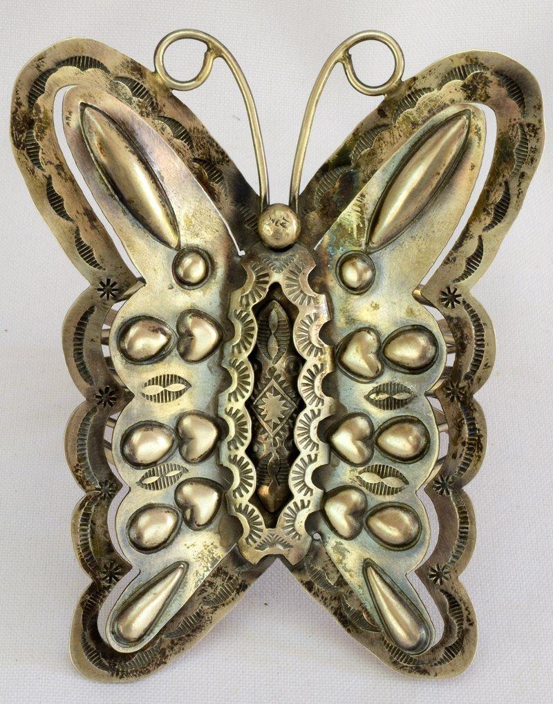 Navajo Huge Sterling Silver Repousse Butterfly Bracelet