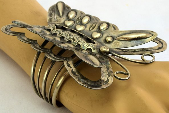 Navajo Huge Sterling Silver Repousse Butterfly Bracelet - 2