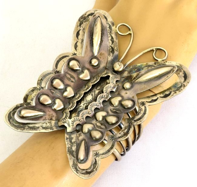 Navajo Huge Sterling Silver Repousse Butterfly Bracelet - 7