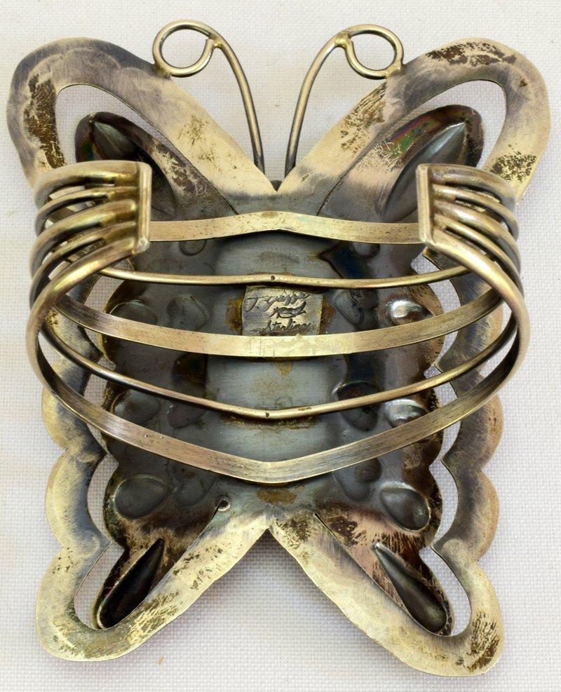 Navajo Huge Sterling Silver Repousse Butterfly Bracelet - 8
