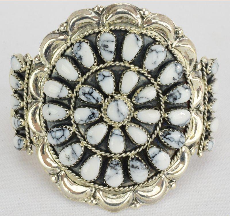 Sterling Navajo White Buffalo Turquoise Cuff Bracelet
