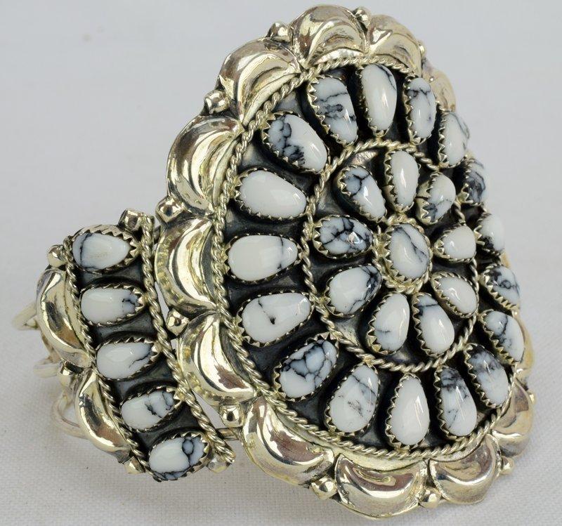 Sterling Navajo White Buffalo Turquoise Cuff Bracelet - 2