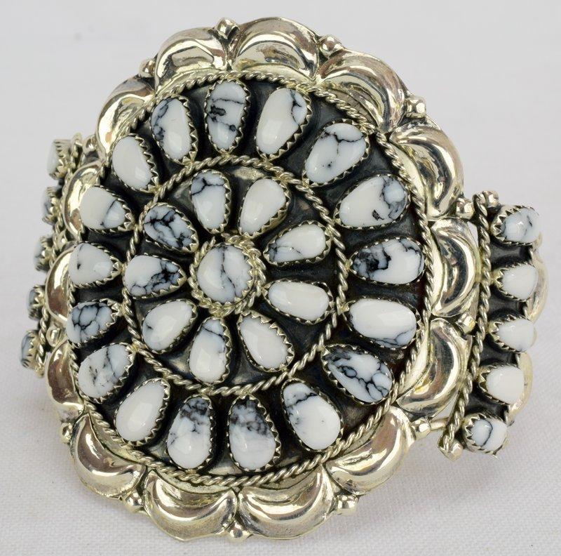 Sterling Navajo White Buffalo Turquoise Cuff Bracelet - 3