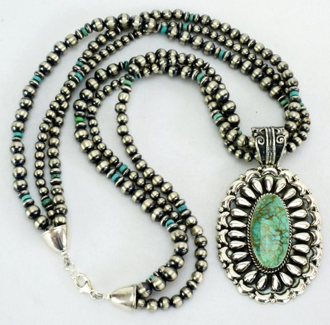 Navajo Sterling Statement Necklace with Navajo Pearls