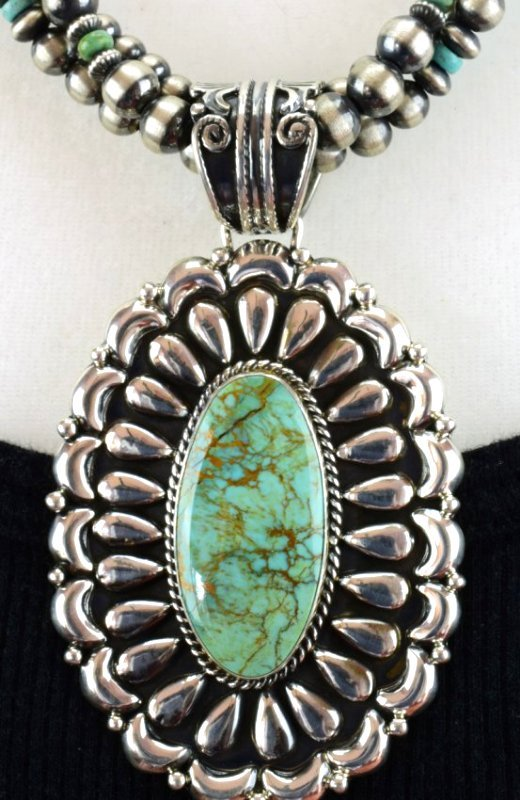 Navajo Sterling Statement Necklace with Navajo Pearls - 2