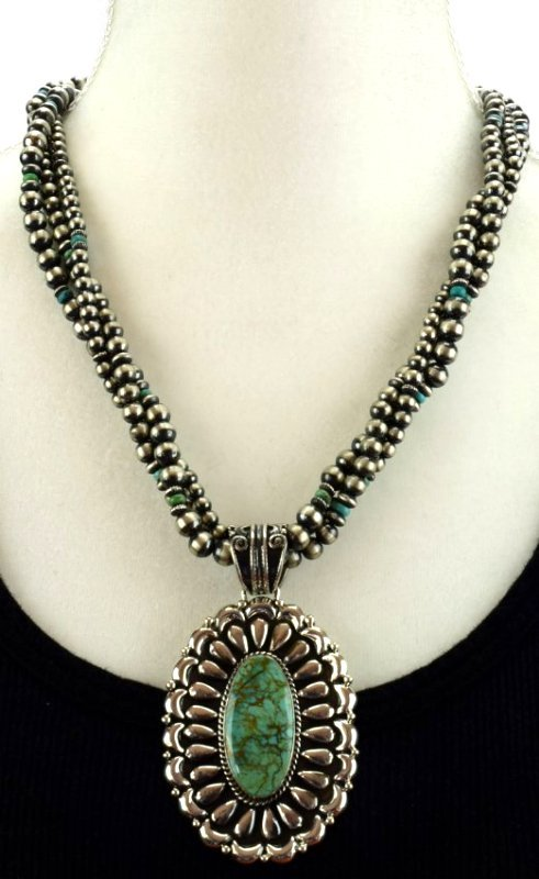 Navajo Sterling Statement Necklace with Navajo Pearls - 4
