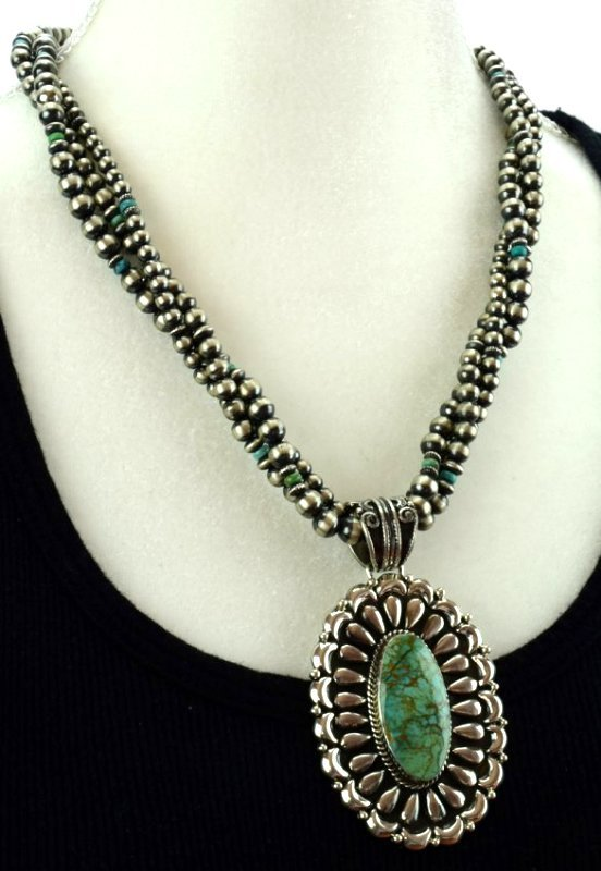 Navajo Sterling Statement Necklace with Navajo Pearls - 5