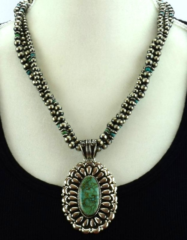 Navajo Sterling Statement Necklace with Navajo Pearls - 6