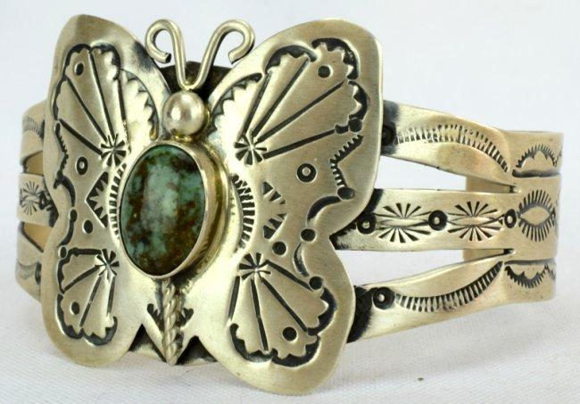 Navajo Sterling Butterfly Cuff Bracelet-Marcella James - 2