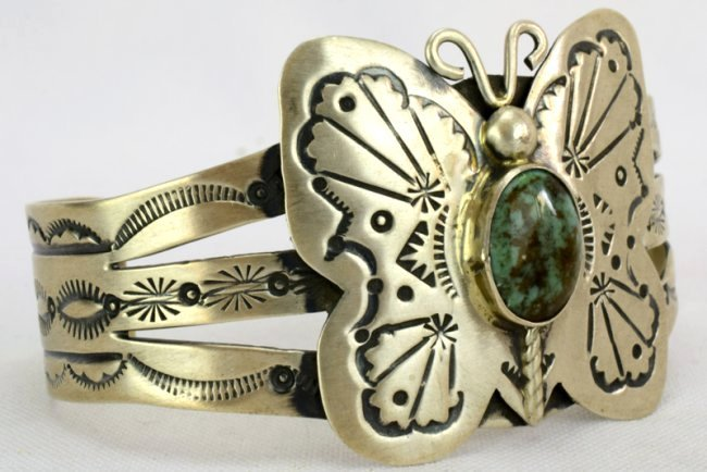 Navajo Sterling Butterfly Cuff Bracelet-Marcella James - 3