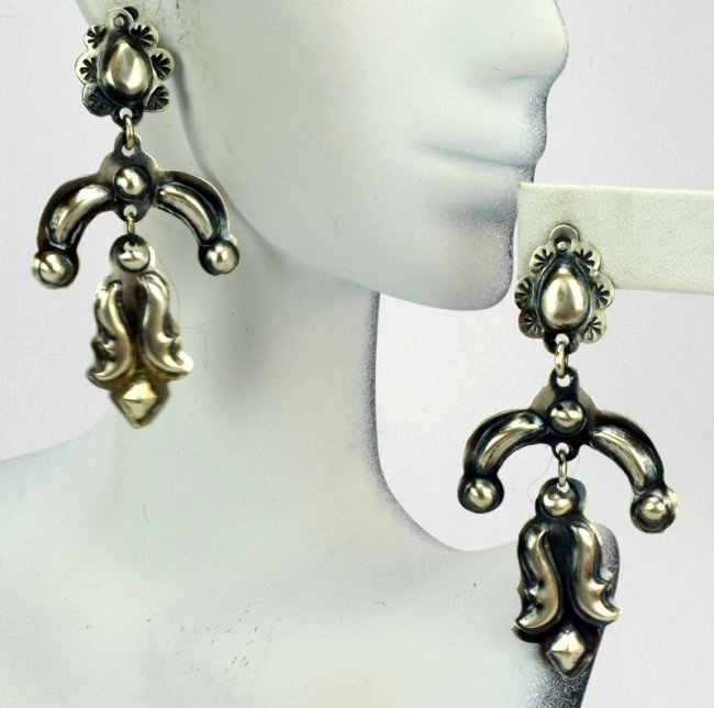 Native American Sterling Repousse Earrings - 3