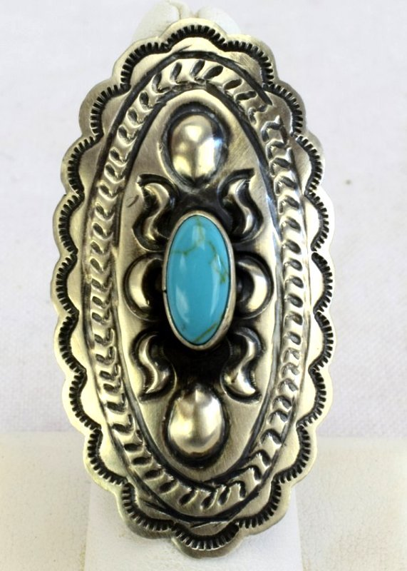 Navajo Sterling Concho Ring w/Turquoise