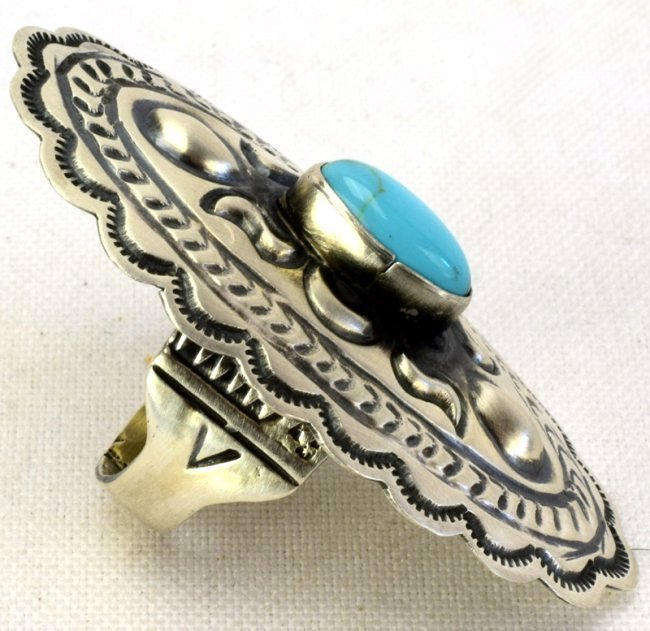 Navajo Sterling Concho Ring w/Turquoise - 2
