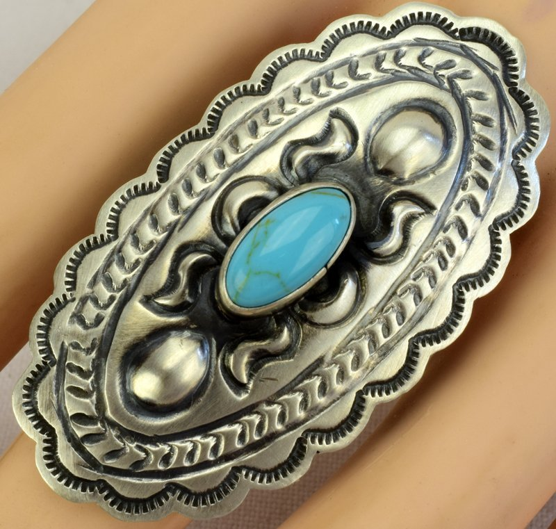 Navajo Sterling Concho Ring w/Turquoise - 4
