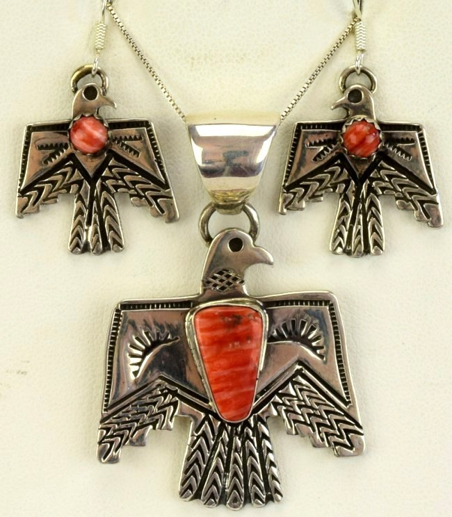 Navajo Sterling Thunderbird Necklace & Earring Set