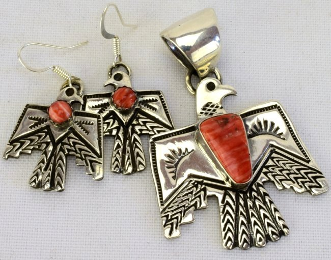 Navajo Sterling Thunderbird Necklace & Earring Set - 3