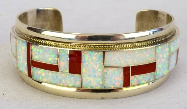 Zuni Sterling Silver Inlay Coral and Opal Cuff Bracelet