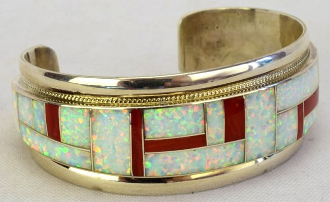 Zuni Sterling Silver Inlay Coral and Opal Cuff Bracelet - 2