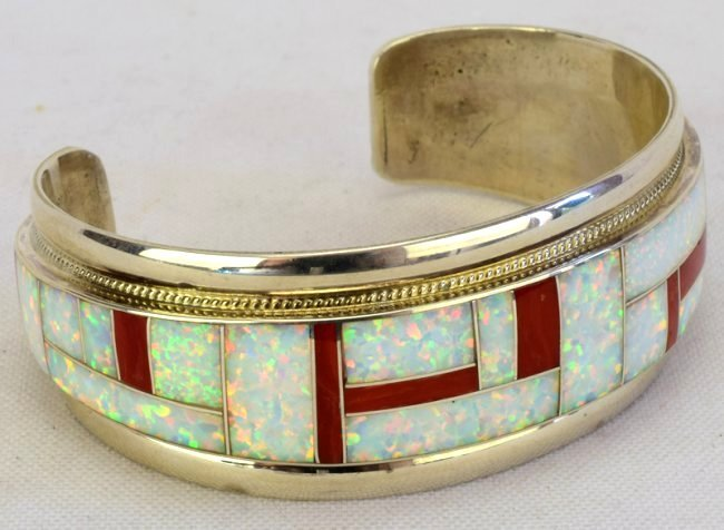 Zuni Sterling Silver Inlay Coral and Opal Cuff Bracelet - 4