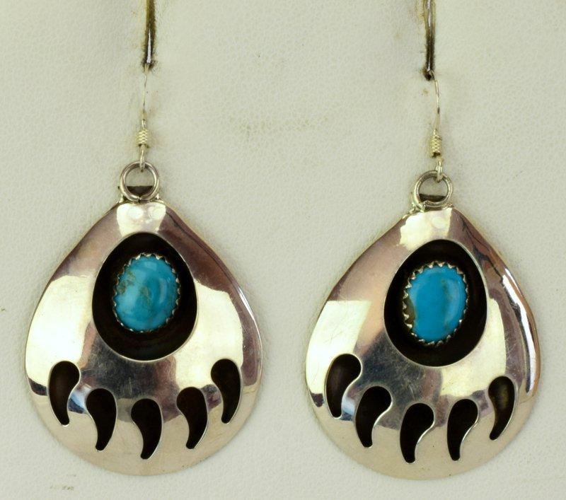 Native American Sterling Silver Bear Paw Earrings