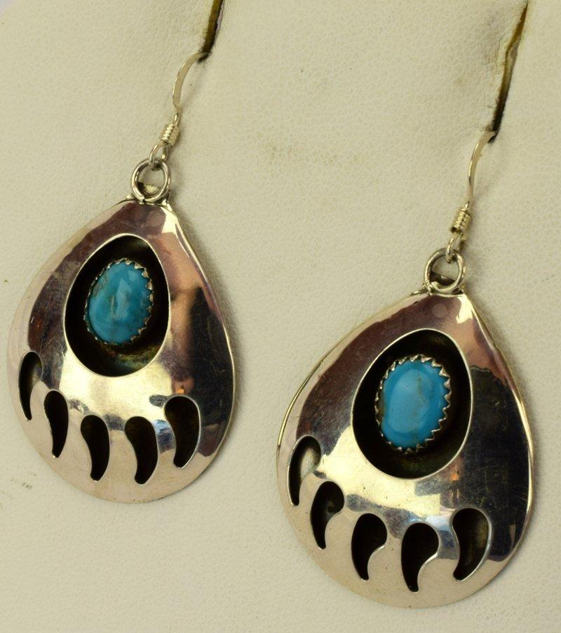 Native American Sterling Silver Bear Paw Earrings - 2
