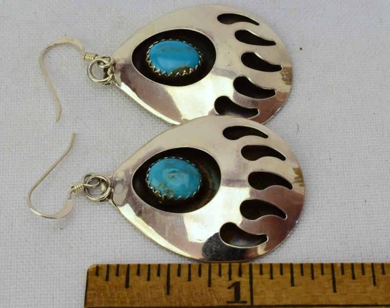 Native American Sterling Silver Bear Paw Earrings - 3