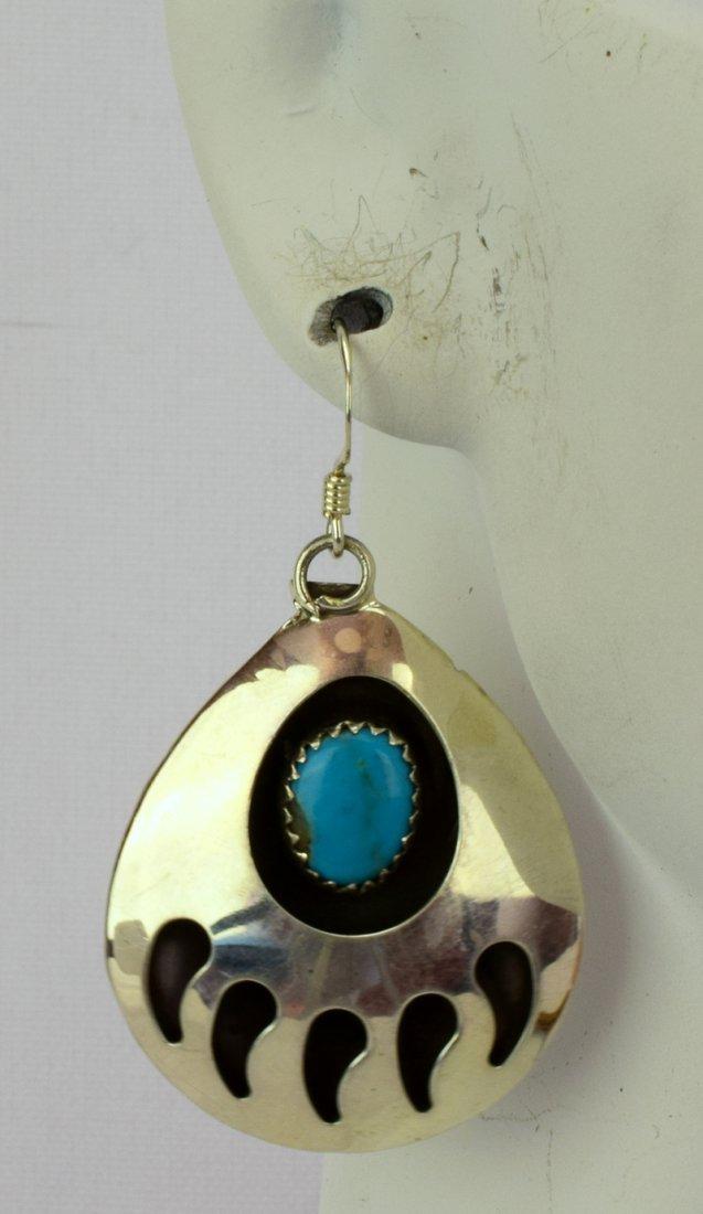 Native American Sterling Silver Bear Paw Earrings - 4