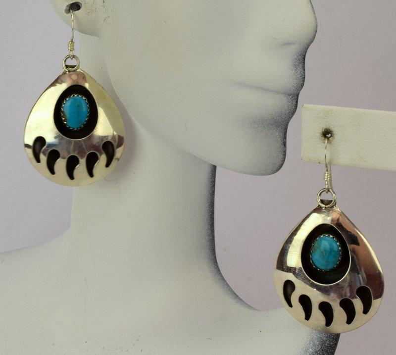 Native American Sterling Silver Bear Paw Earrings - 5