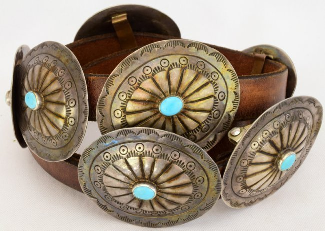 Navajo Old Pawn Sterling Silver Concho Belt