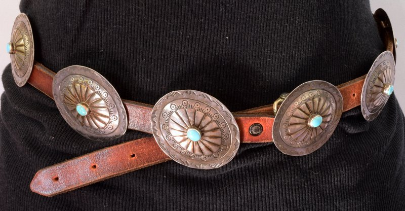 Navajo Old Pawn Sterling Silver Concho Belt - 2