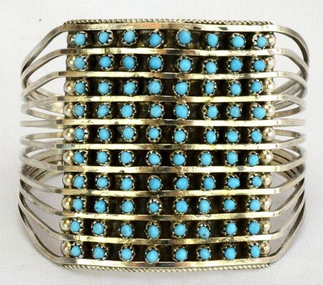 Zuni Sterling Silver Turquoise 10 Row Snake Eye Cuff