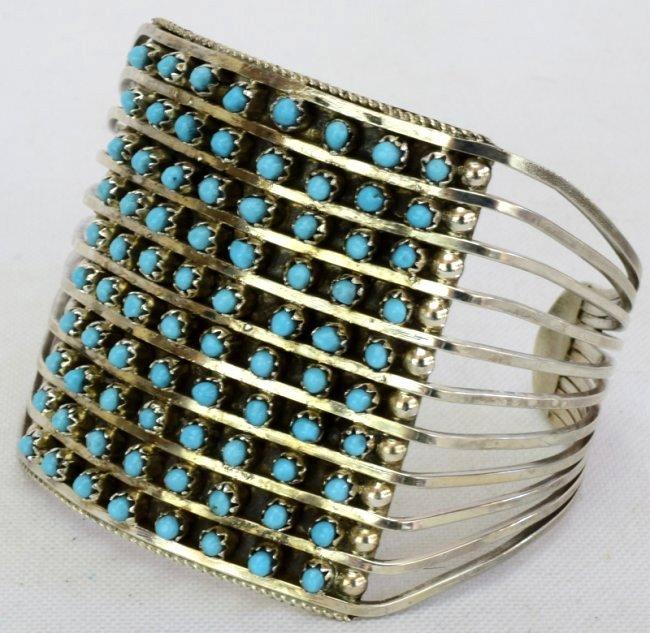 Zuni Sterling Silver Turquoise 10 Row Snake Eye Cuff - 2