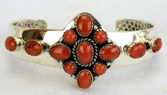Native American Sterling Silver Coral Bracelet