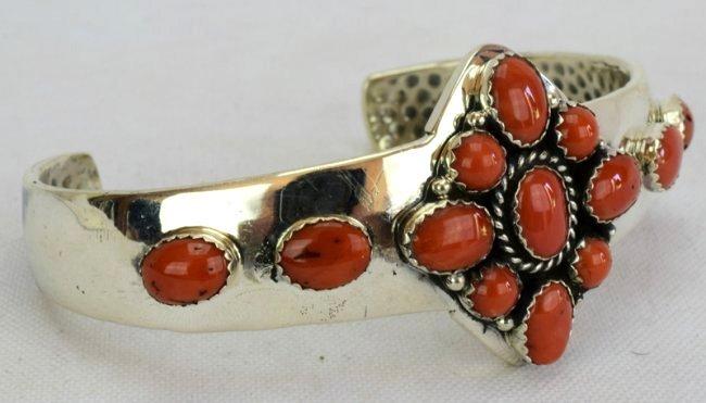 Native American Sterling Silver Coral Bracelet - 2