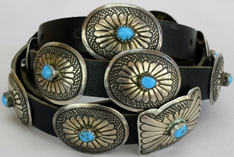 Navajo Old Pawn Sterling Silver Concho belt or Hat Band