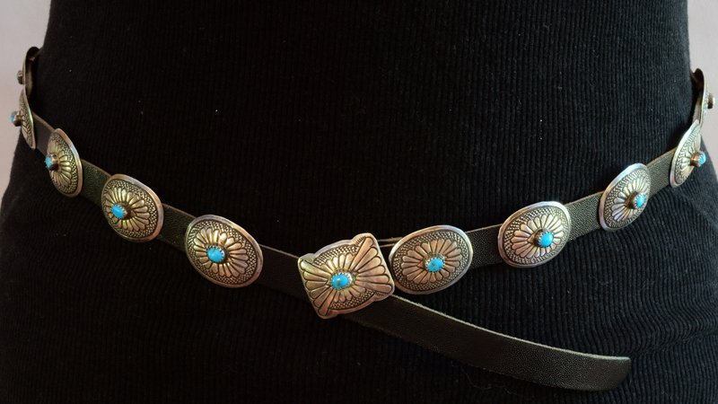 Navajo Old Pawn Sterling Silver Concho belt or Hat Band - 2