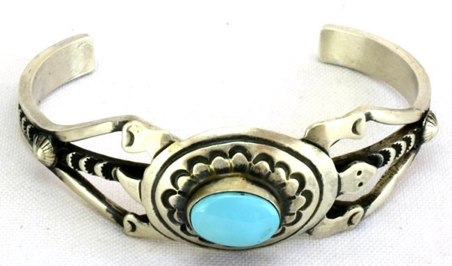 Native American Sterling Turquoise Turtle Braclet - 2