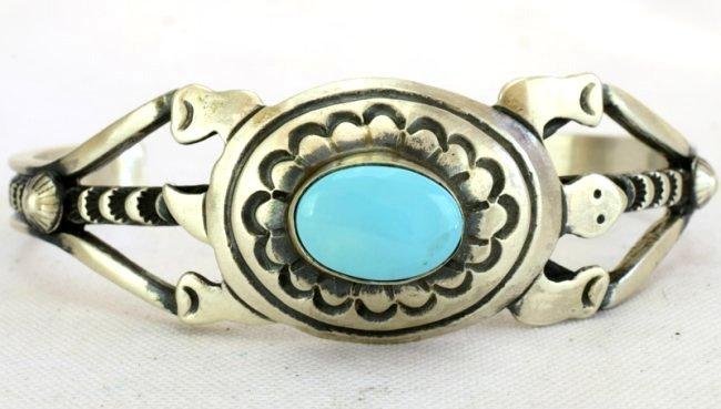 Native American Sterling Turquoise Turtle Braclet - 3