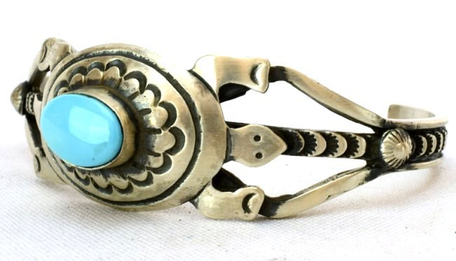 Native American Sterling Turquoise Turtle Braclet - 4