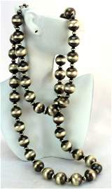 Sterling Silver Huge Navajo Pearls Necklace - 208 Grms.