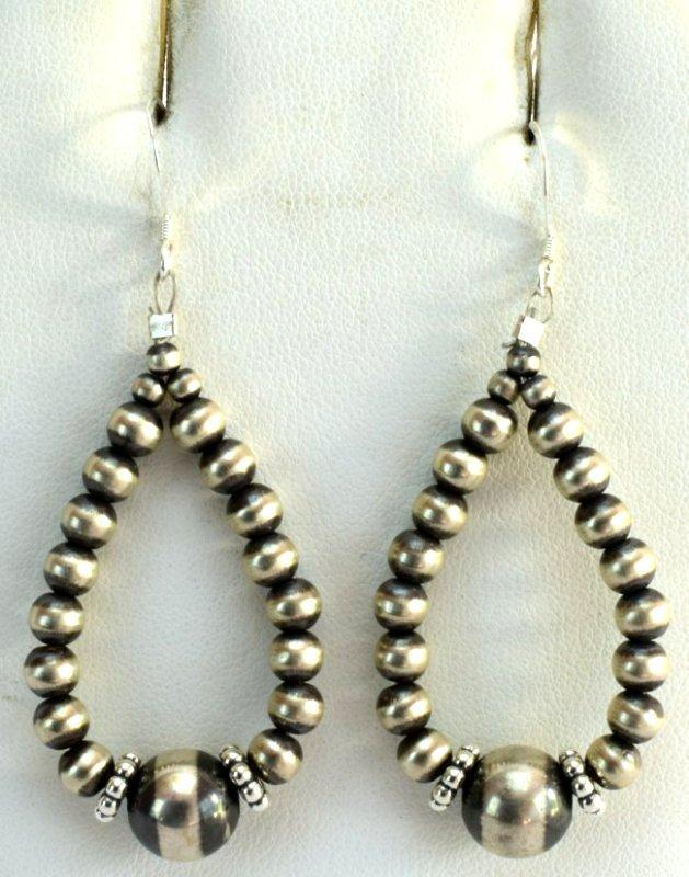 Native American Sterling Navajo Pearl Hoop Earrings