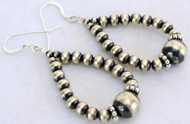 Native American Sterling Navajo Pearl Hoop Earrings - 2