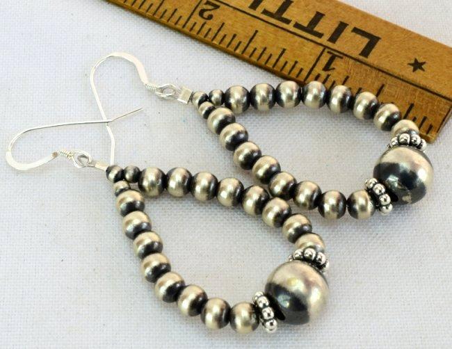 Native American Sterling Navajo Pearl Hoop Earrings - 3