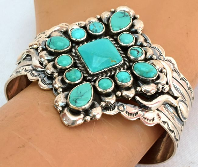 Native American Sterling Silver Turquoise Cuff Bracelet - 5