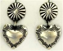 Navajo Sterling Silver Heart Earrings - Platero
