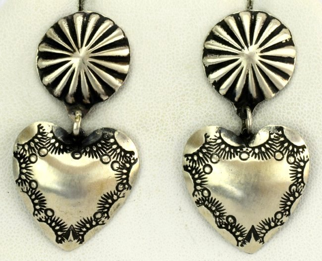 Navajo Sterling Silver Heart Earrings - Platero