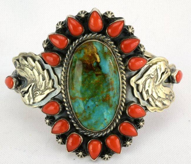 Navajo Sterling Turquoise & Coral Bracelet w/Eagle