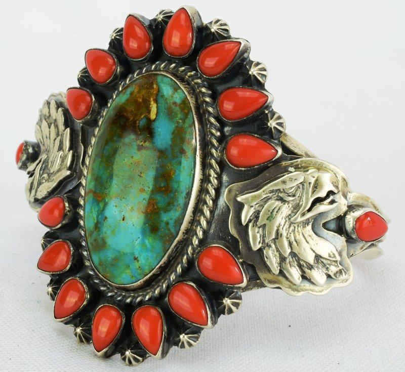 Navajo Sterling Turquoise & Coral Bracelet w/Eagle - 2