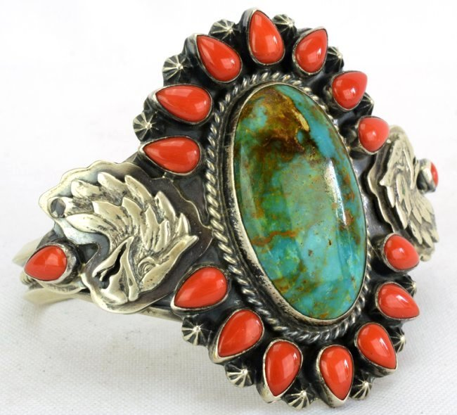 Navajo Sterling Turquoise & Coral Bracelet w/Eagle - 3