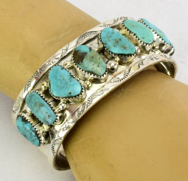 Sterling Silver Navajo Old Pawn Turquoise Bracelet